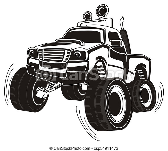 Not Colored Truck Black And White Monster Truck