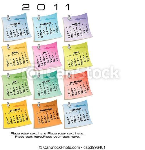 nota, calendário, papel, 2011 - csp3996401