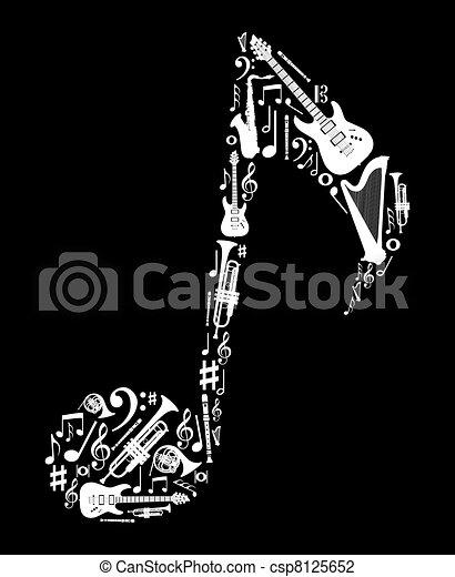 nota, instrumentos, forma, música - csp8125652