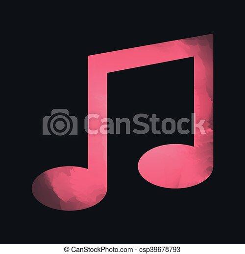 Nota Isolado Aquarela Desenho Musica Icone Nota Grafico