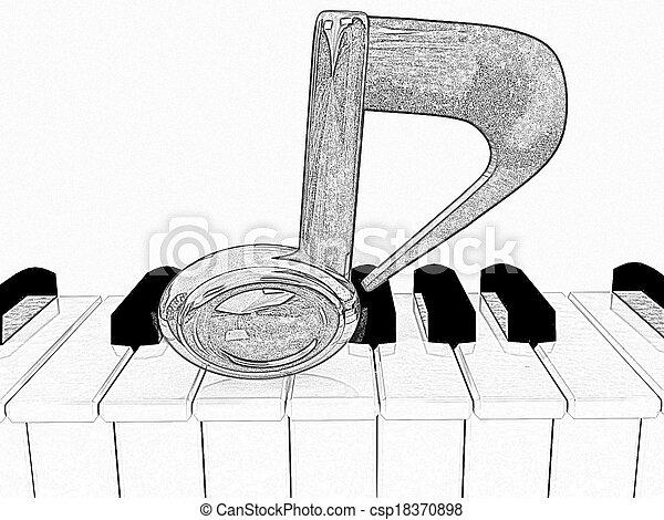 Dibujo De Lápiz De Una Nota 3d En Un Piano En Un Fondo Blanco