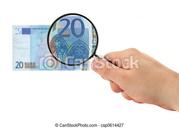 nota, mão, 20, magnificar, euro - csp0614427