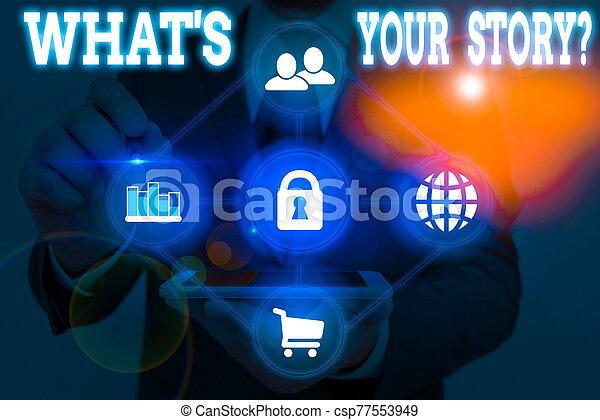 nota, s, alguien, qué, ser, sobre, escritura, showcasing, preguntado, journey., foto, actuación, mi, poseer, question., empresa / negocio, su, historia - csp77553949