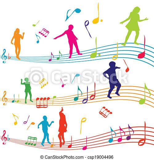 nota, silhuetas, crianças, música, dançar - csp19004496