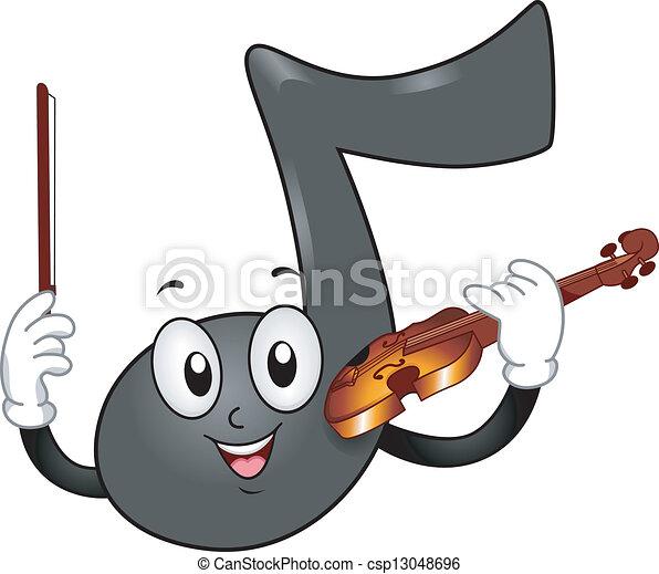 nota, violín, música, mascota - csp13048696