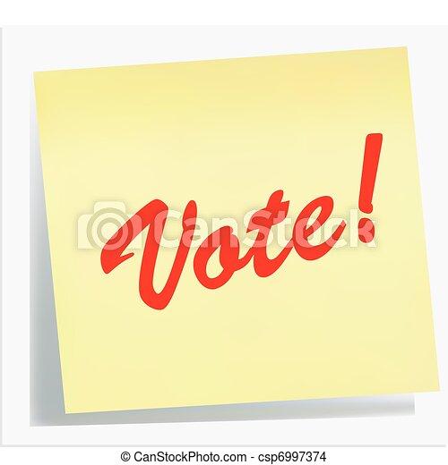 nota, vote!, lembrete, - - csp6997374