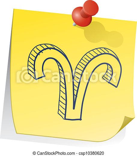 nota, zodiaco, ariete, appiccicoso - csp10380620