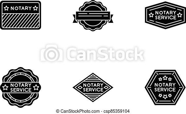 Notary service stamps black glyph icons set on white space - csp85359104