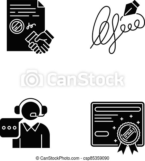 Notary services black glyph icons set on white space - csp85359090