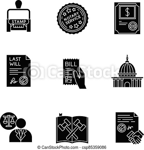Notary services black glyph icons set on white space - csp85359086