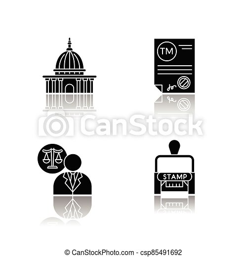 Notary services drop shadow black glyph icons set - csp85491692
