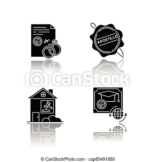 Notary services drop shadow black glyph icons set - csp85491680
