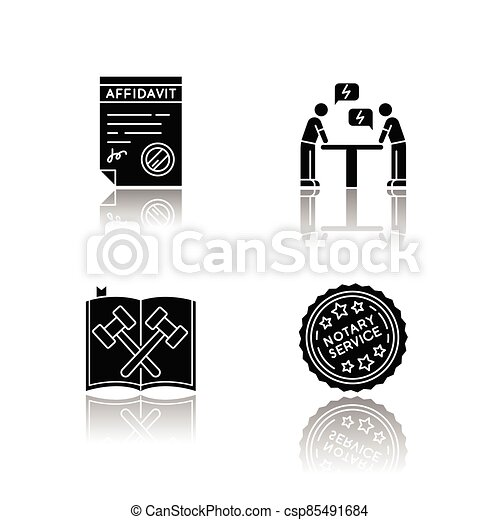Notary services drop shadow black glyph icons set - csp85491684