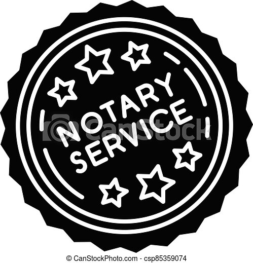Notary services stamp mark black glyph icon - csp85359074