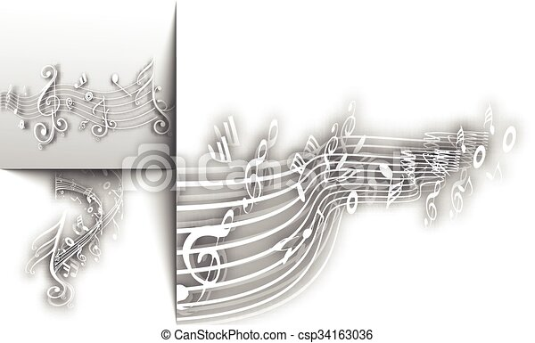 notas, abstratos, fundo, musical - csp34163036