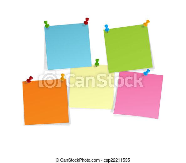 notas, agujas, cinco, alfiler - csp22211535