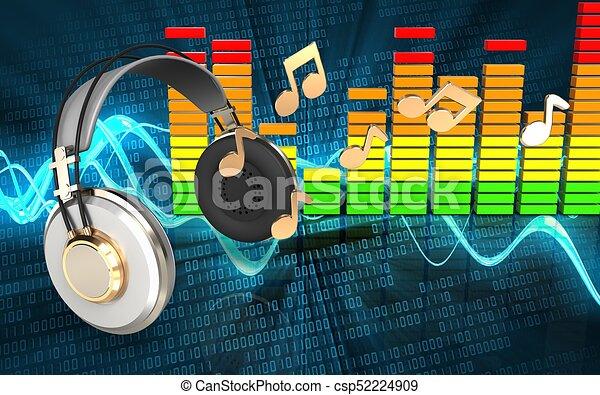 Notas Auriculares 3d Sonido Encima Auriculares Ilustración