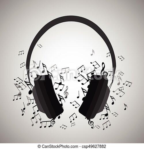 Notas Auriculares Creatividad Ilustración Elemento Musical