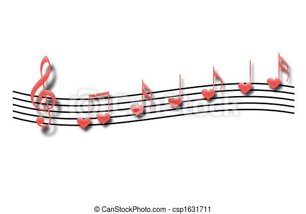 Corazón Forma Notas Plano De Fondo Blanco Musical
