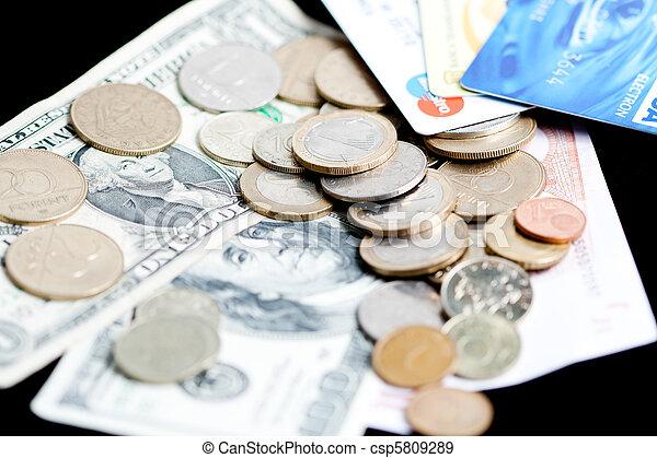 notas, dinheiro, moedas, -, cartões crédito, banco - csp5809289