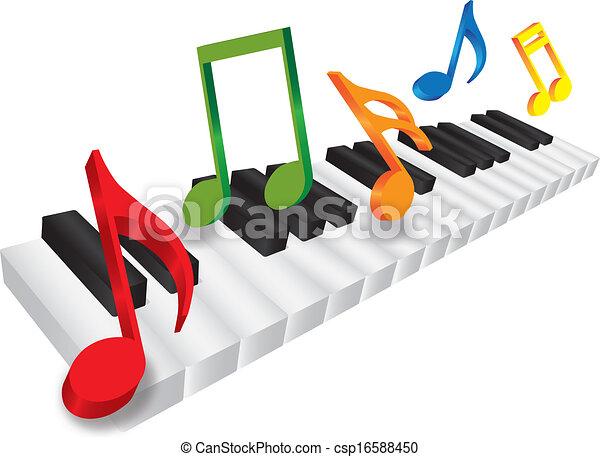 Teclado de piano y notas de música 3D ilustraciones - csp16588450