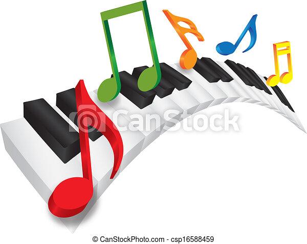 Teclado de piano y notas de música 3D - csp16588459