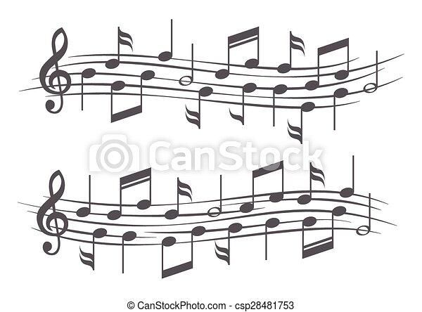 notas, música, aduelas - csp28481753