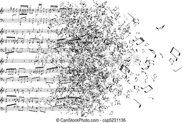 notas, música, afastado, dançar - csp5231136