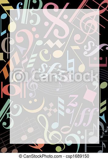 notas música, colorido - csp1689150