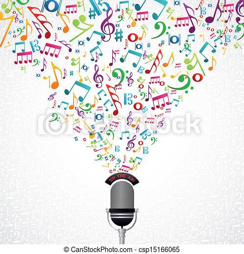 notas música, desenho, microfone - csp15166065