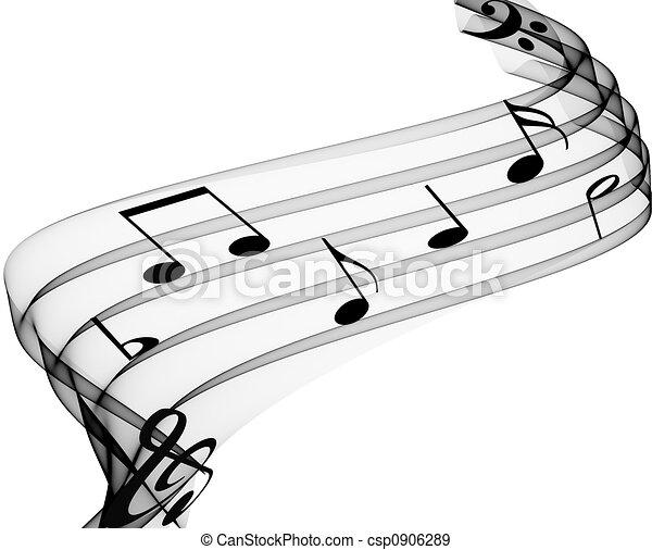 notas, música - csp0906289