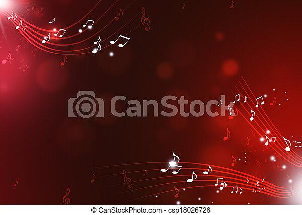 notas, música, experiência vermelha - csp18026726