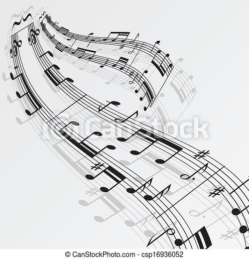 notas, música, fundo, onda - csp16936052