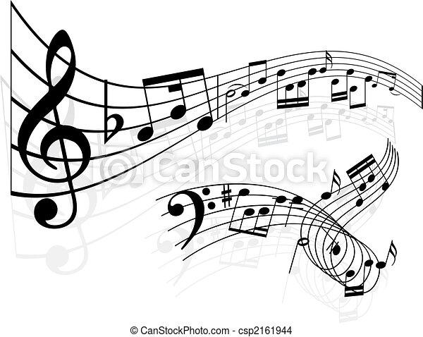 notas, música, fundo - csp2161944