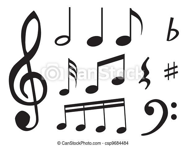 Notas Musica Sinais Diferente Folha Simbolo Tipo Notas Musica