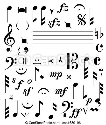 notas, música - csp1689196