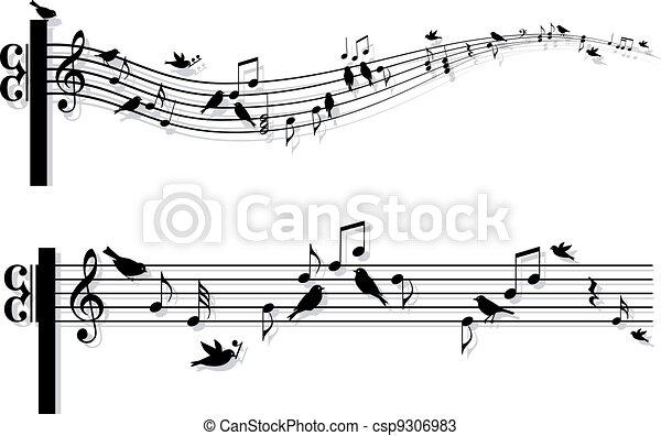 notas música, vetorial, pássaros - csp9306983