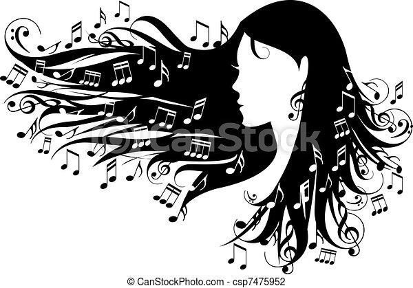 Mujer con notas musicales - csp7475952