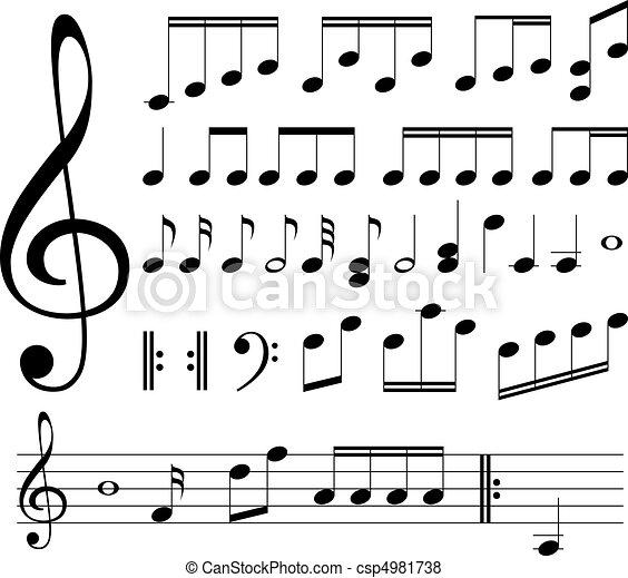 notas, musical, signs. - csp4981738