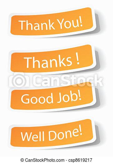 Gracias notas como pegatinas - csp8619217