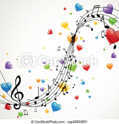 notas, vetorial, música - csp20824801