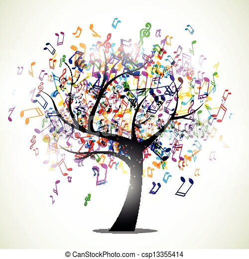 notas, vetorial, música, fundo - csp13355414