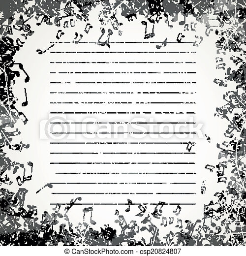 notas, vetorial, música, fundo - csp20824807
