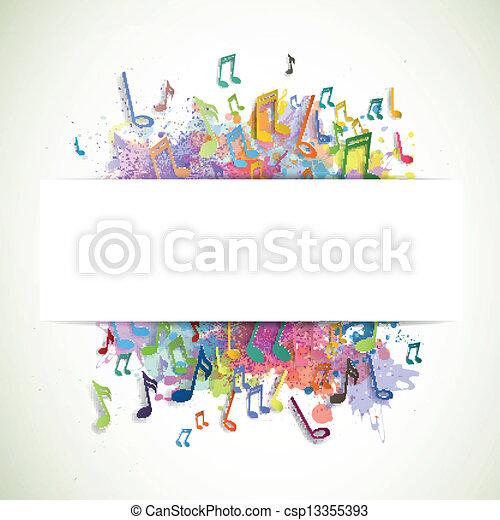 notas, vetorial, música, fundo - csp13355393