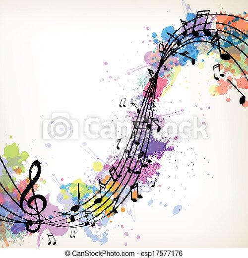 notas, vetorial, música, fundo - csp17577176