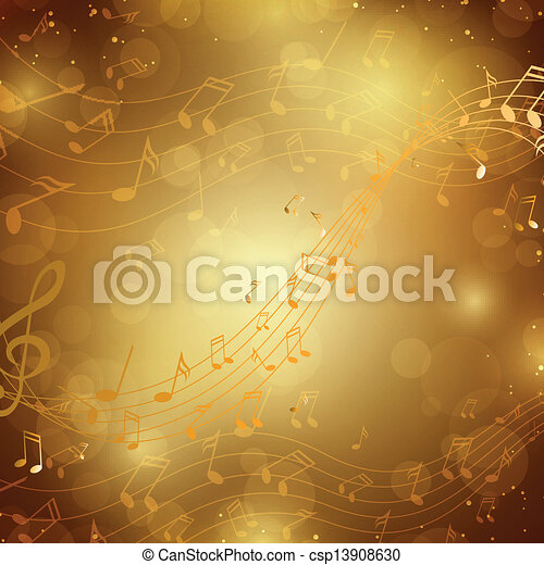 notas, vetorial, música, fundo - csp13908630