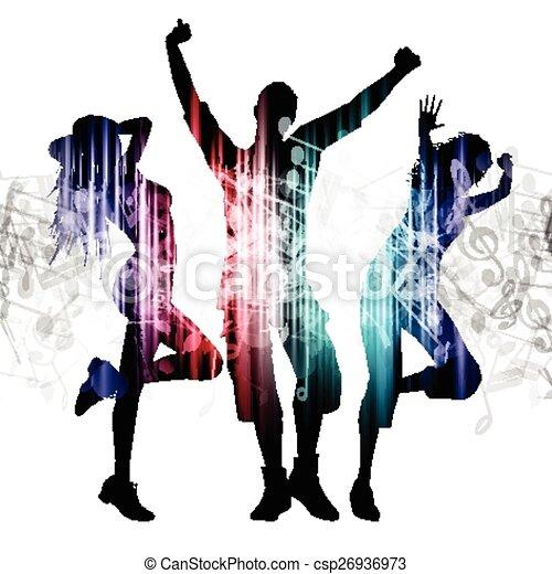 notatki, ludzie, muzyka, tło, taniec - csp26936973