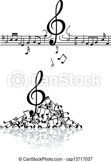notatki, muzyczny, tło, uszkodzić - csp13717037