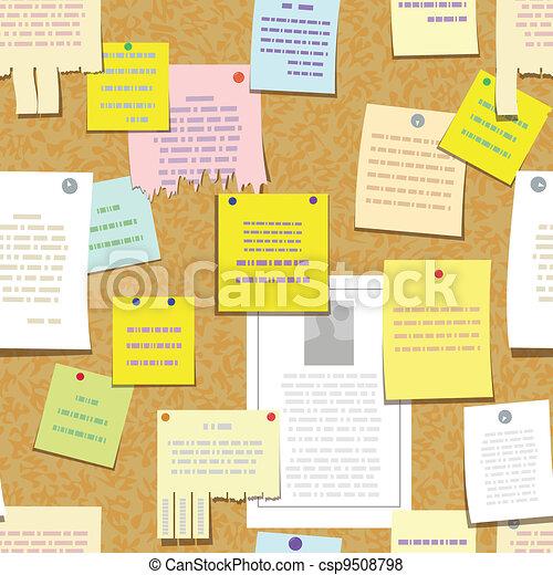 notatki, seamless, korek deska, reklamować, biuletyn - csp9508798