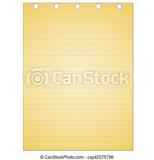 Note book paper isolated on white background - csp42375798
